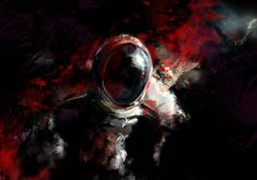 Abstract Red White Astronaut 4K Wallpaper