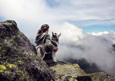 Adventure Girl Dog Mountain Clouds 4K Wallpaper