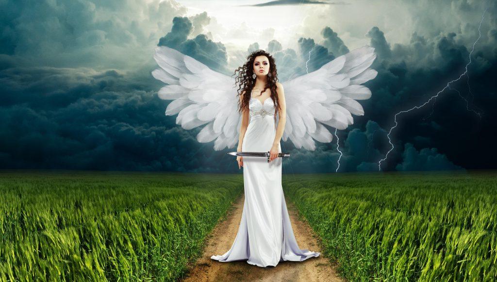 Angel Path Way Green Field Storm 4K Wallpaper