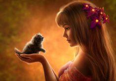Anime Cute Cat Fluffy Girl 4K Wallpaper