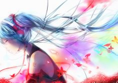 Anime Girl Blue Red Headphone 4K Wallpaper