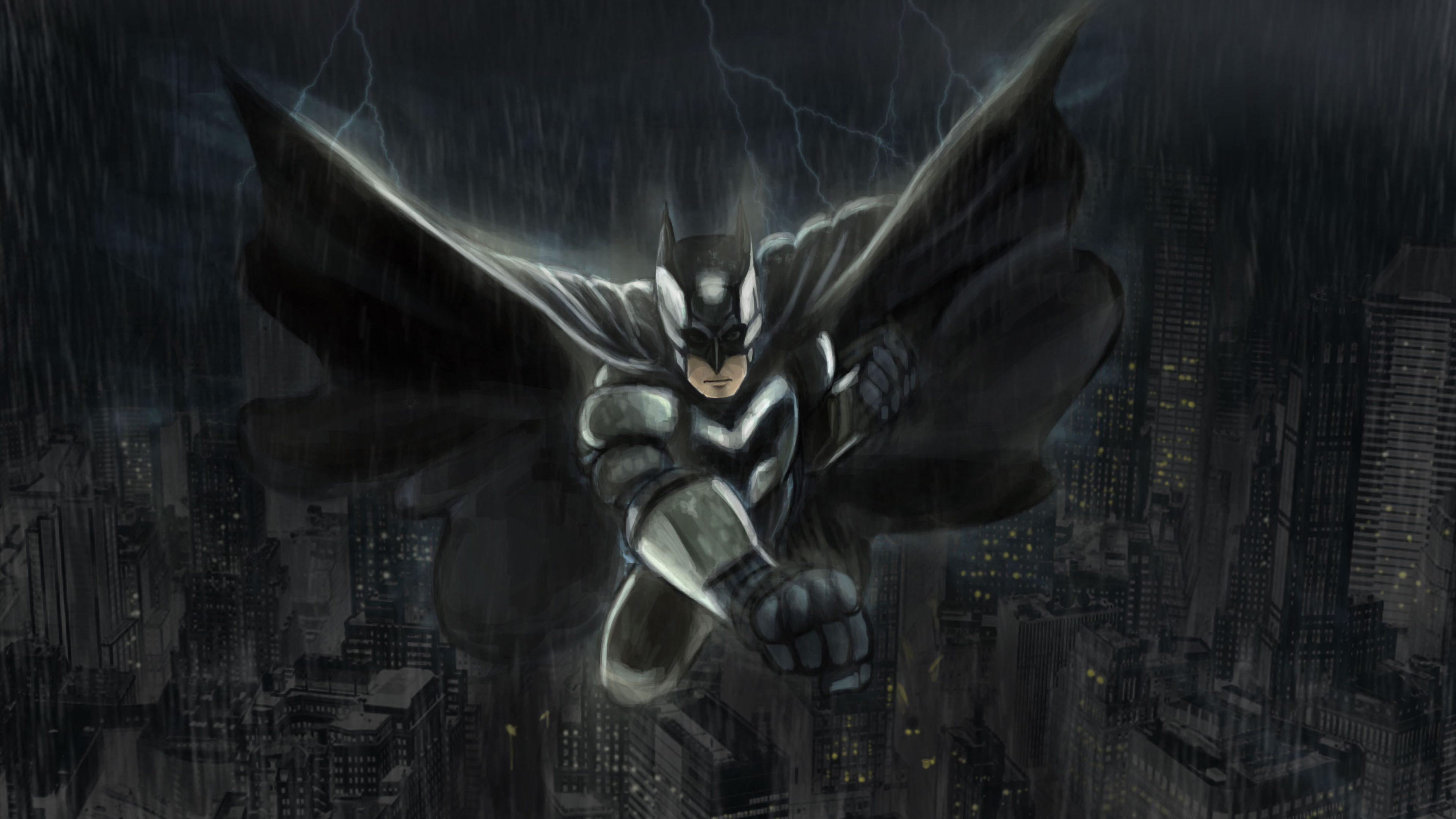 Anime Batman Black Monochrome 4k Wallpaper Best Wallpapers