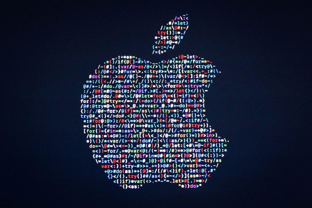 Apple Logo Code Typography Blue 4K Wallpaper