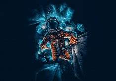 Artistic Spaceman Blue Orange 4K Wallpaper
