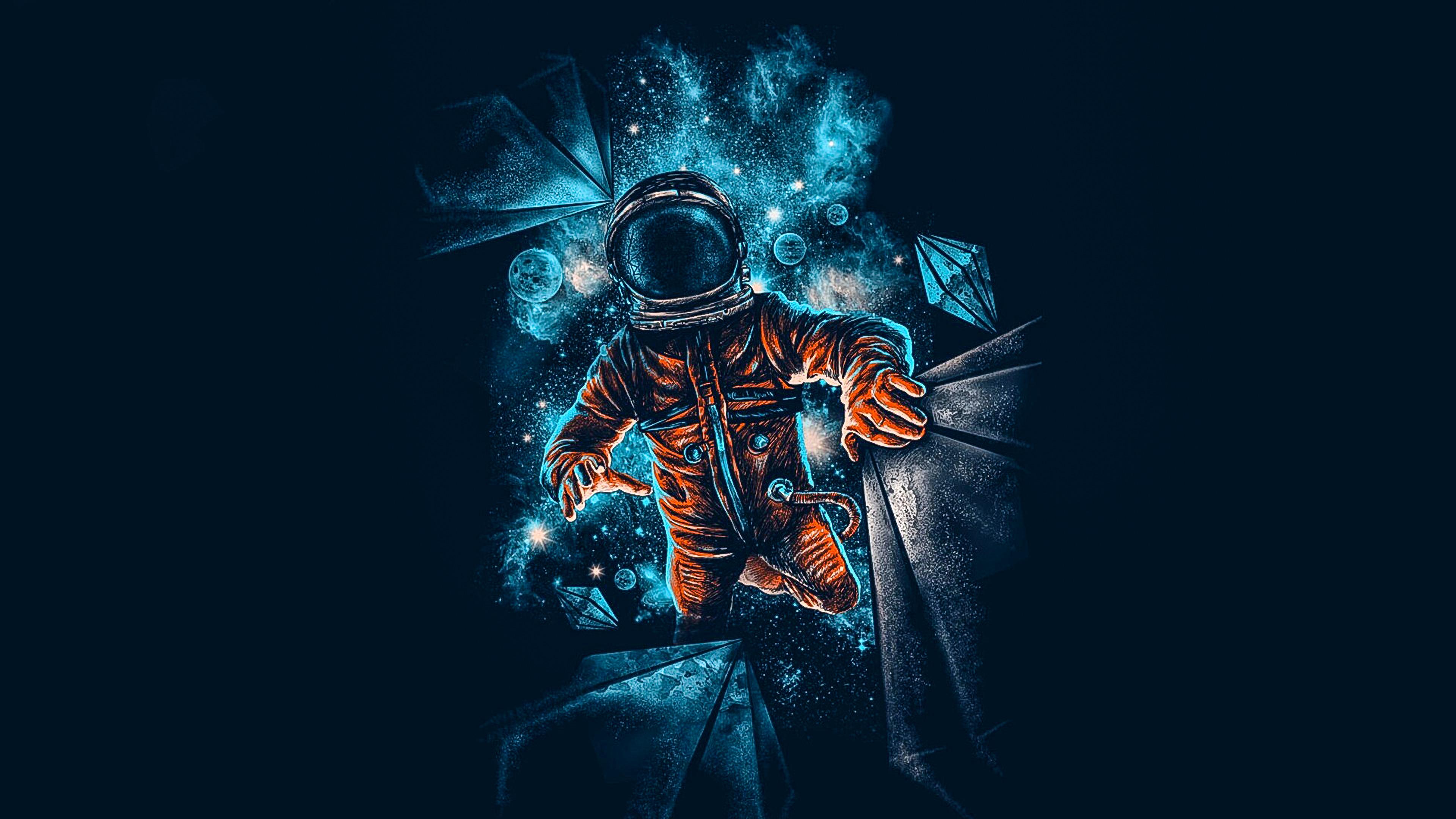 Artistic Spaceman Blue Orange 4k Wallpaper Best Wallpapers