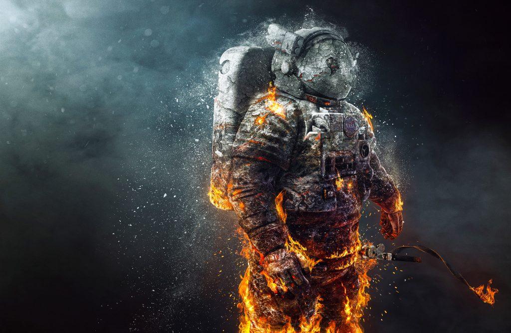 Astronaut Fire Creative Orange 4K Wallpaper
