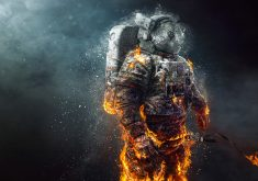 Astronaut Fire Creative Orange 4K Wallpaper