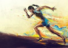 Athletic Run Girl Art Artistic 4K Wallpaper