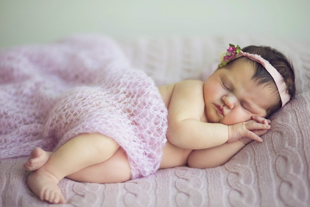 Baby Cute Kid Sleeping Child Girl Purple 4K Wallpaper