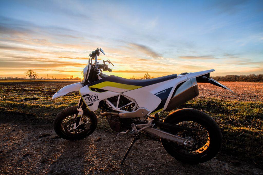 Bike Motorcycle Sunset Orange Blue Sky 4K Wallpaper