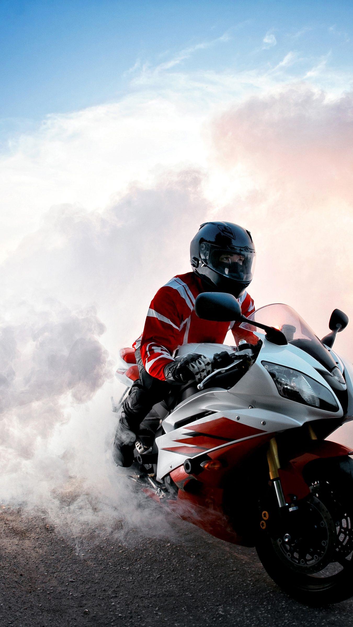 Biker Smoke Red Bike Road 4K Wallpaper - Best Wallpapers