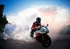 Biker Smoke Red Bike Road 4K Wallpaper