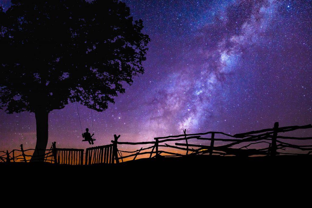 Blue Purple Night Galaxy Stars Tree 4K Wallpaper