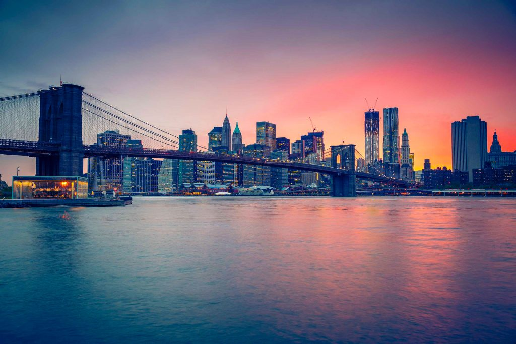 Bridge City Buildings Ocean Water Sunset 4K Wallpaper