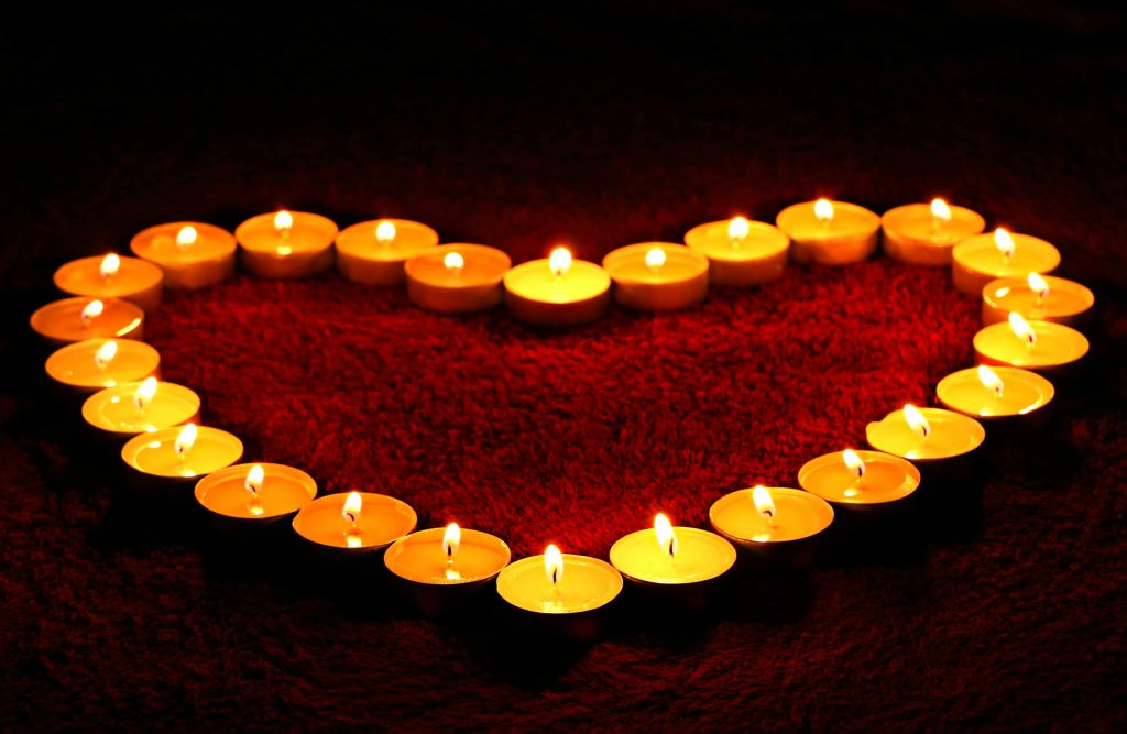 Candles Hearts Divas Heart Diwali 4K Wallpaper