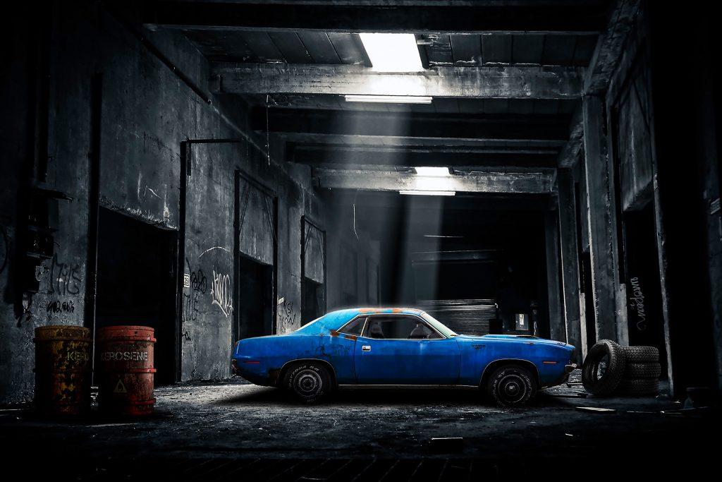 Car Blue Garage Tiers Black Oil Tank 4K Wallpaper