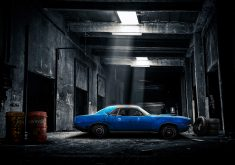 Car Blue Garage Tiers Black Oil Tank 4K Wallpaper