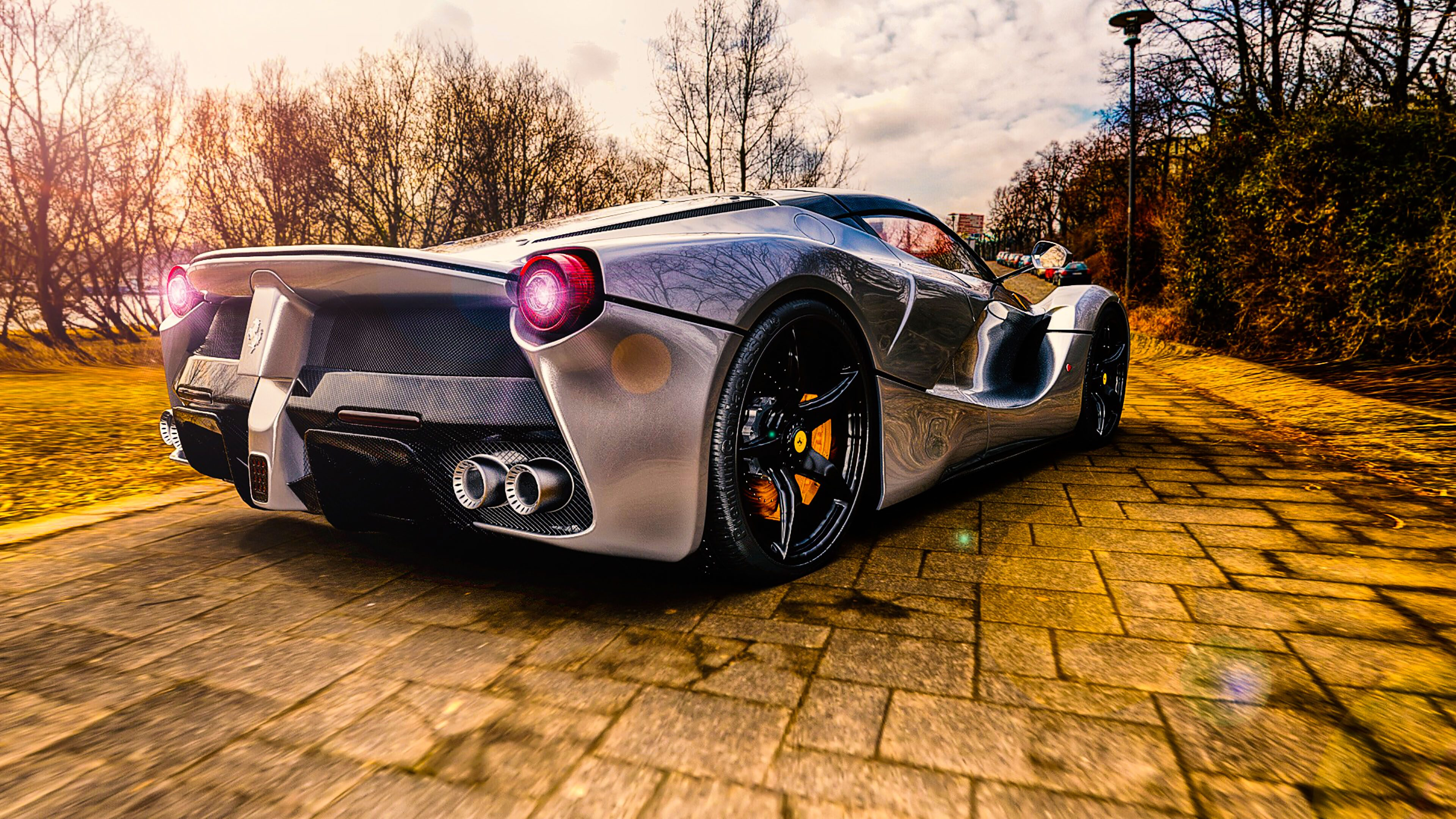 Car Ferrari Sport Car Silver Luxury Car 4K Wallpaper ...