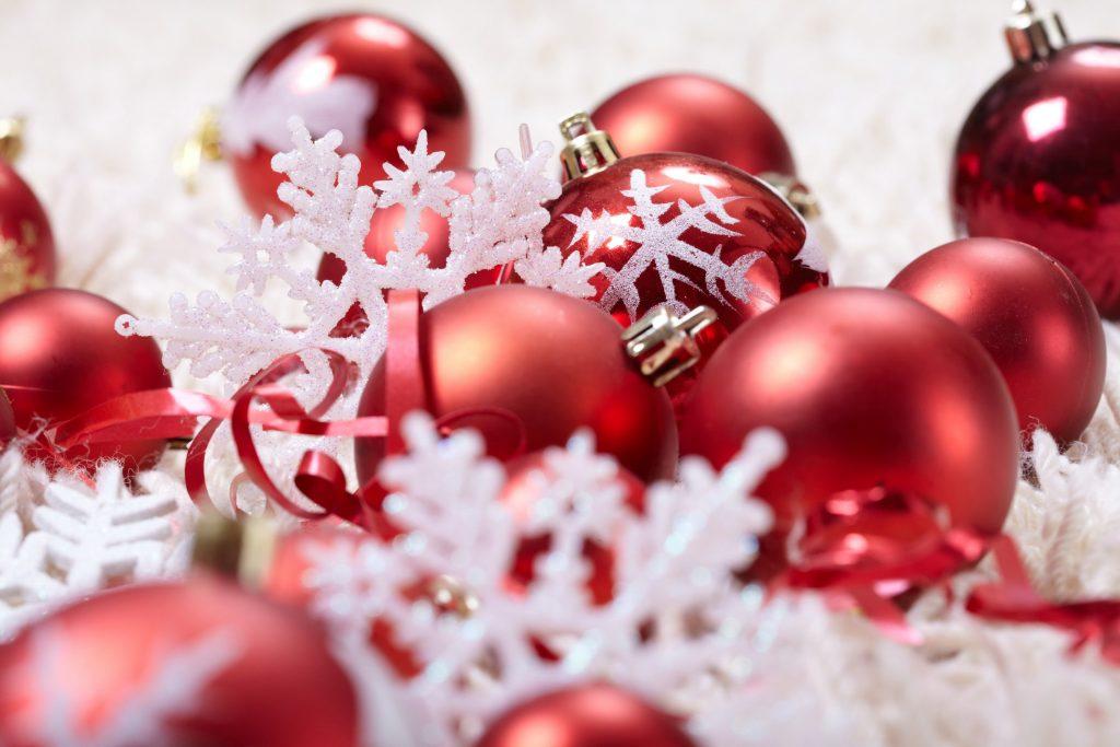 Christmas Festival Decoration Red 4K Wallpaper