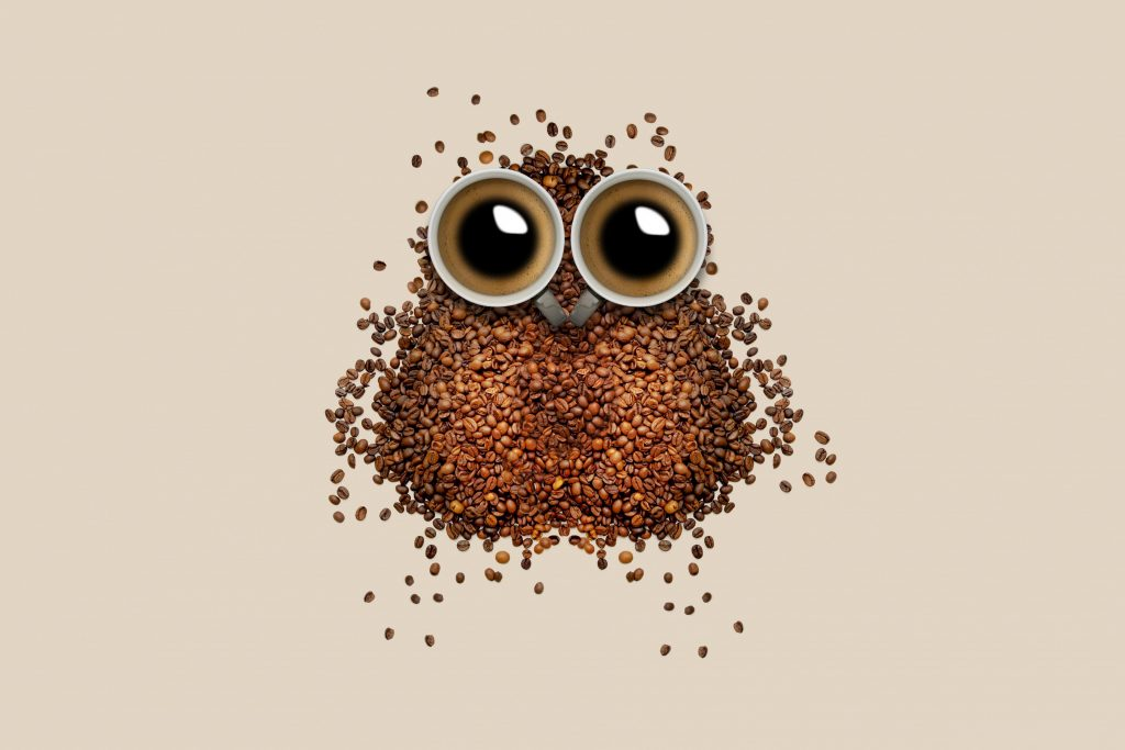 Coffee Beans Shape Owl Mug 4K Wallpaper