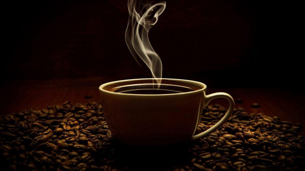 Coffee Cup Coffee Beans Smoke 4K Wallpaper