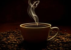 Coffee Cup Coffee Beans Smoke 4K Wallpaper