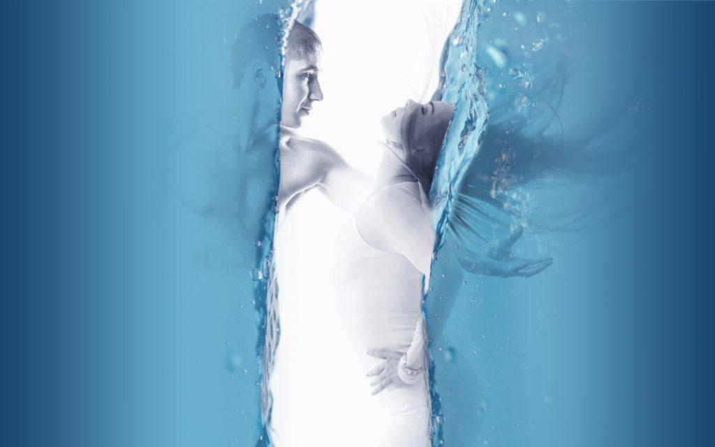 Couple Pair Love Water Blue Man Woman 4K Wallpaper