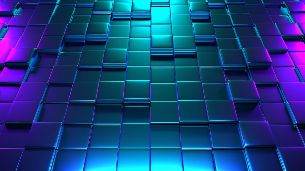 Cube Abstract Colorful Blue Purple 3D 4K Wallpaper