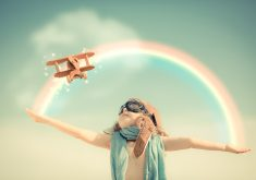 Cute Child Plane Toy Rainbow 4K Wallpaper