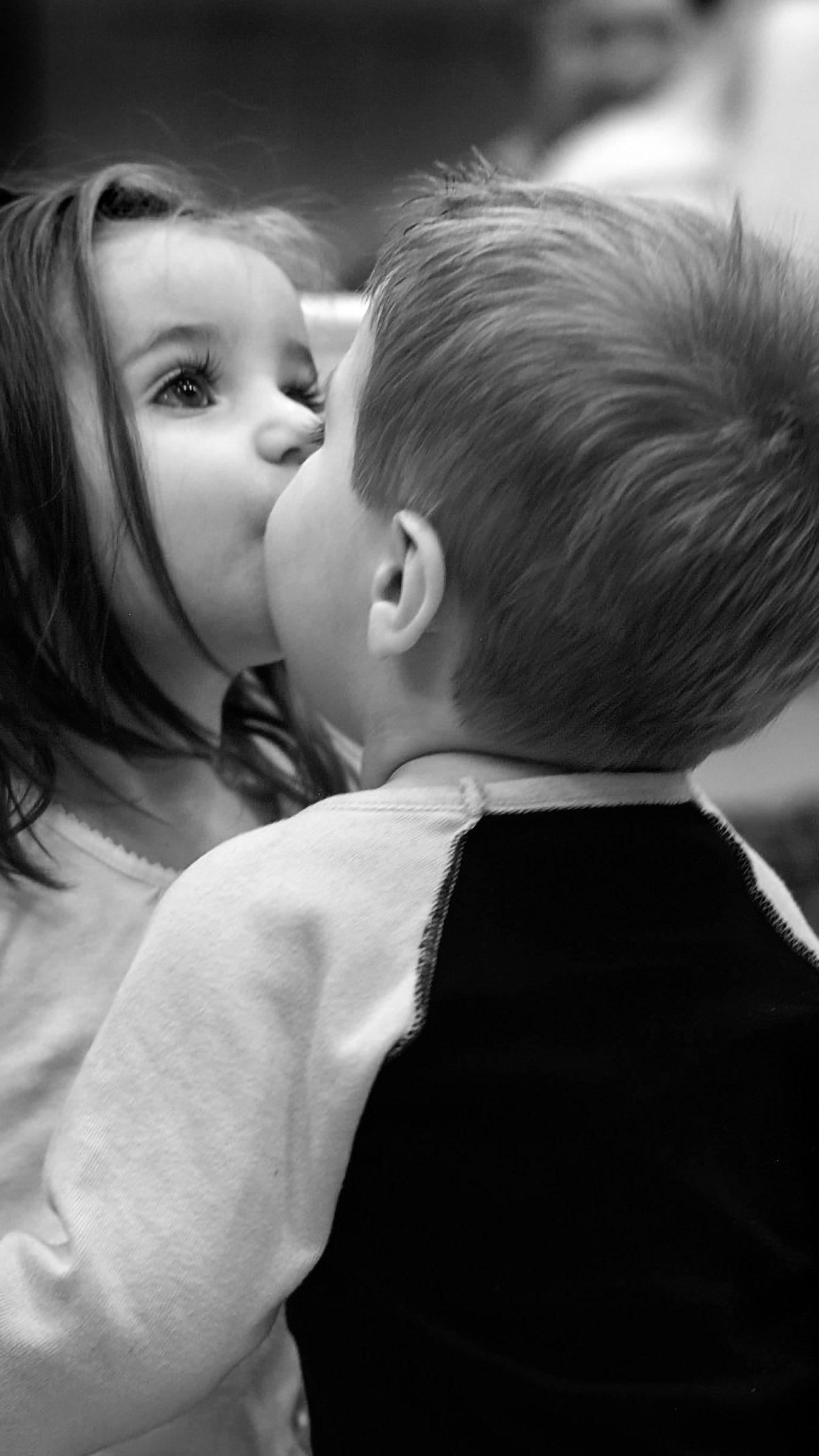 Cute Kids Kissing Monochrome Love 4k Wallpaper Best Wallpapers