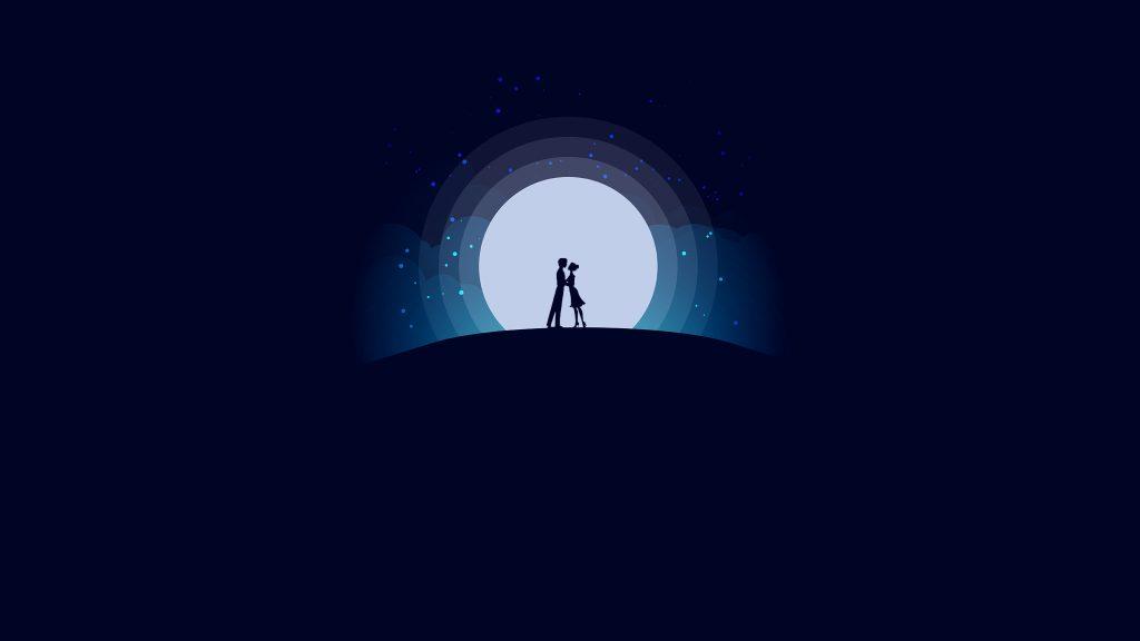 Digital Art Moon Night Blue Lover Love 4K Wallpaper - Best ...