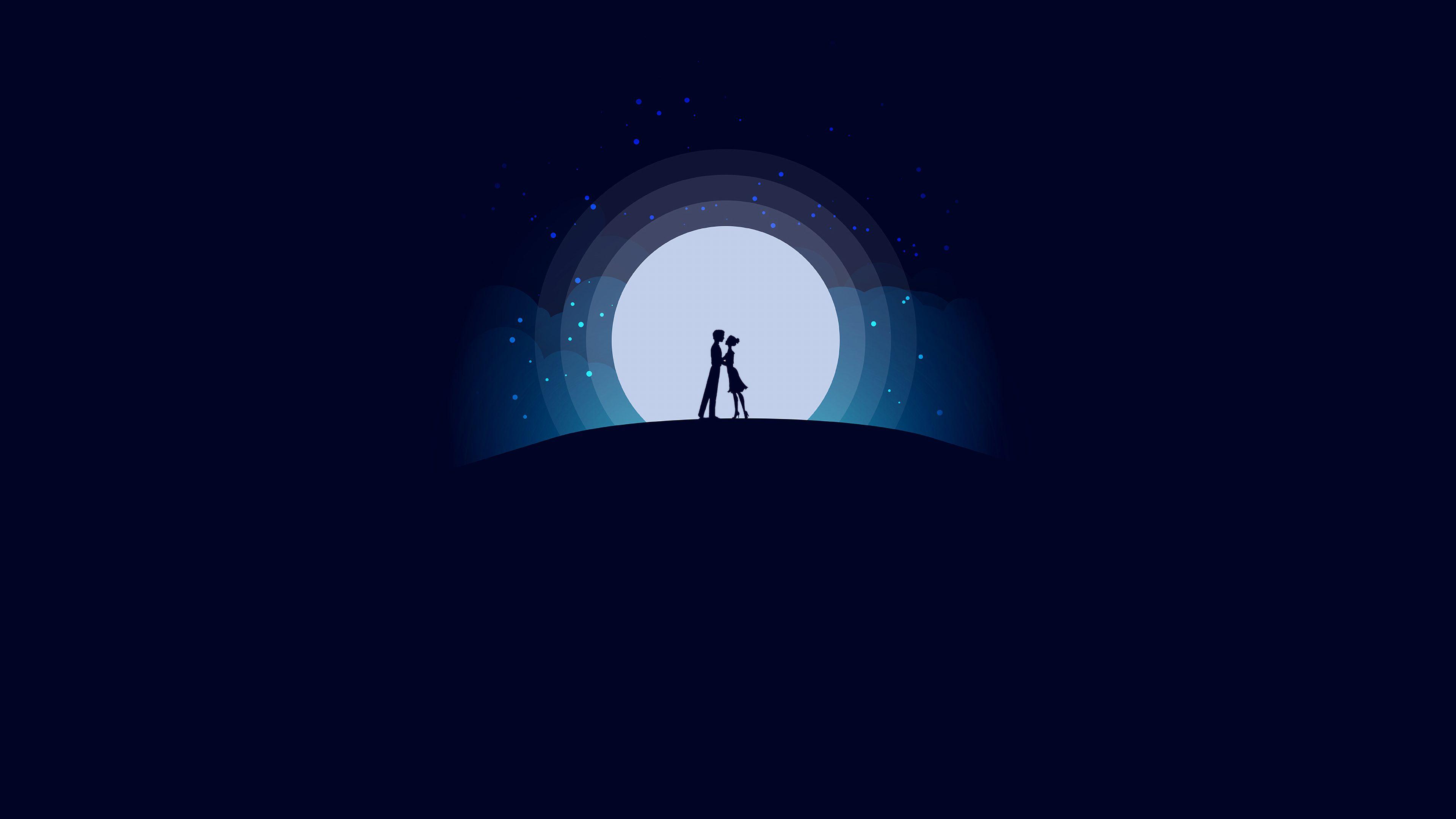 Digital Art Moon Night Blue Lover Love 4k Wallpaper Best Wallpapers