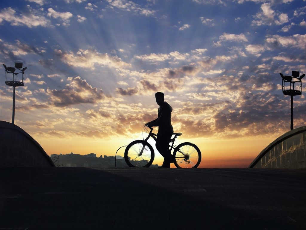 Dusk Person Bicycle Figure Sky Blue 4K Wallpaper