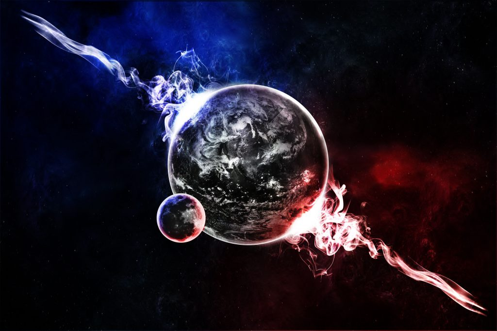 Earth Moon Space Fantasy Blue Red 4K Wallpaper