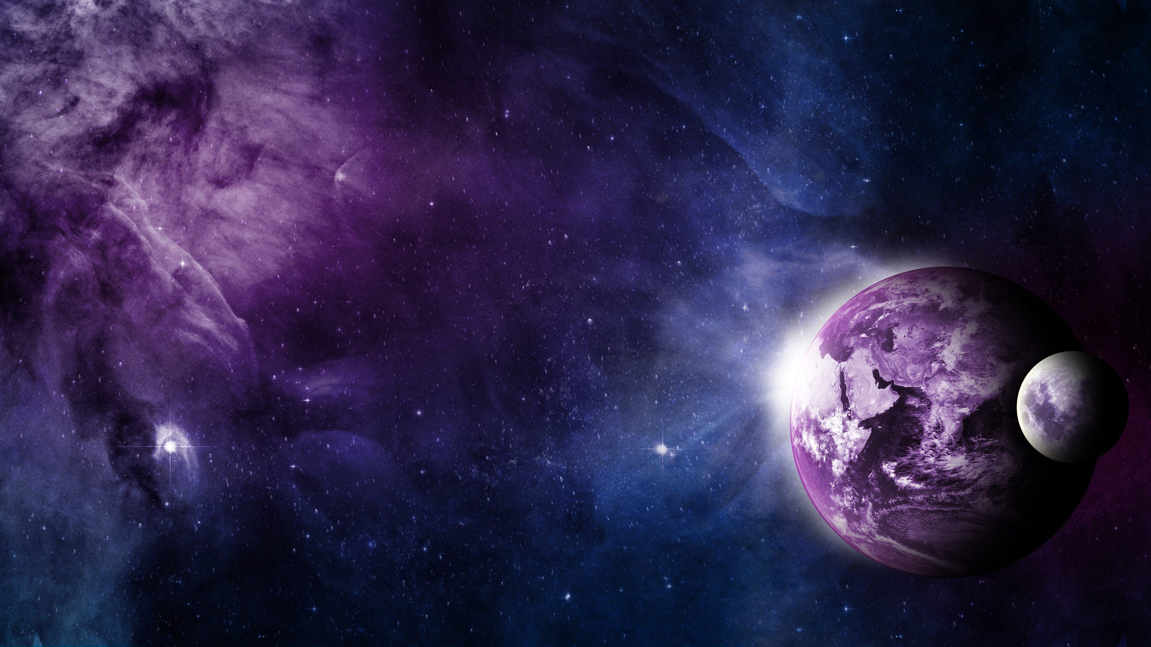 Earth Space Moon Blue Purple Stars 4k Wallpaper Best