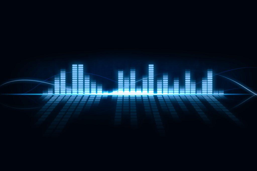 Equaliser Music Bar Blue 4K Wallpaper