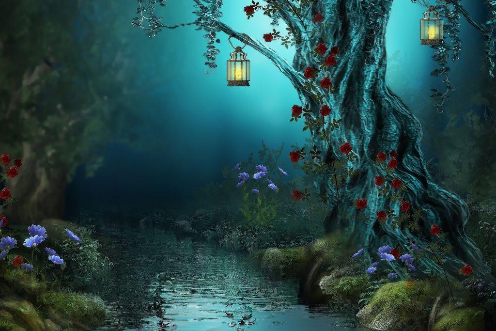 Fantasy Tree Lantern Blue River Water 4K Wallpaper