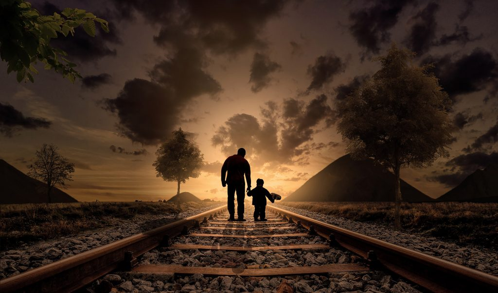 Father Son Railway Track Clouds Dusk 4K Wallpaper