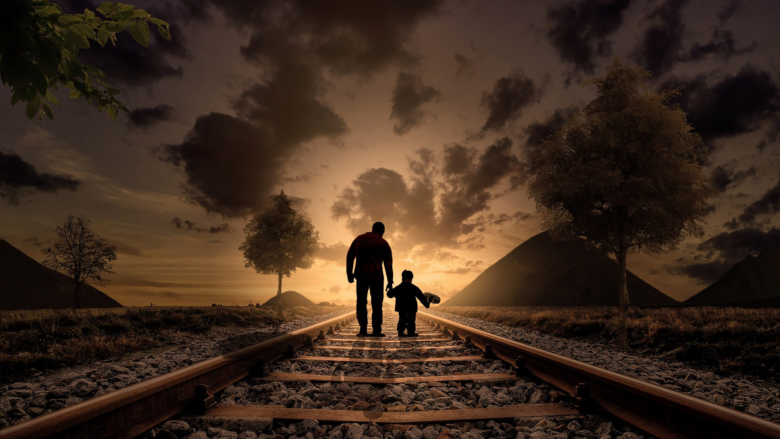 Father Son Railway Track Clouds Dusk 4k Wallpaper Best