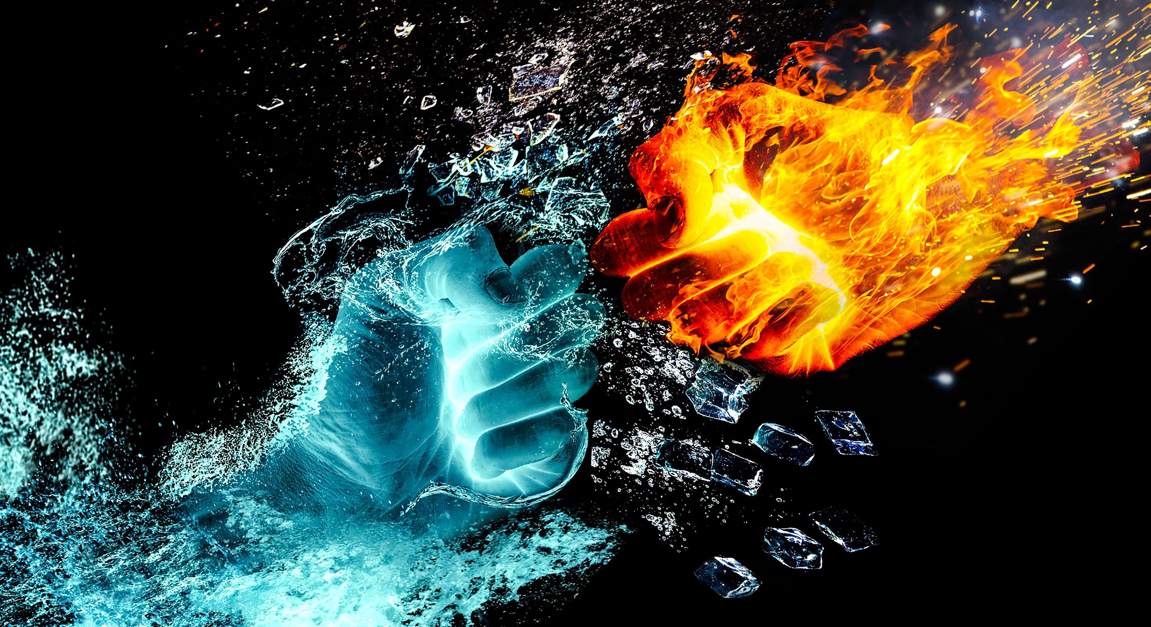 Fire Water Sparkle Ice Fantasy 4K Wallpaper - Best Wallpapers
