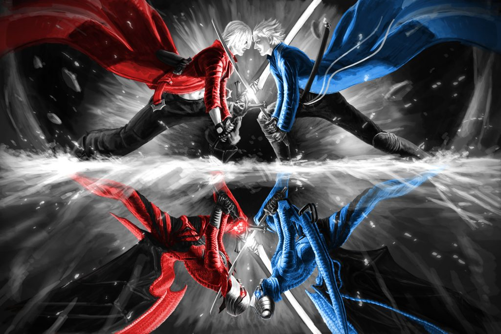 Game Devil May Cry Red Blue 4K Wallpaper