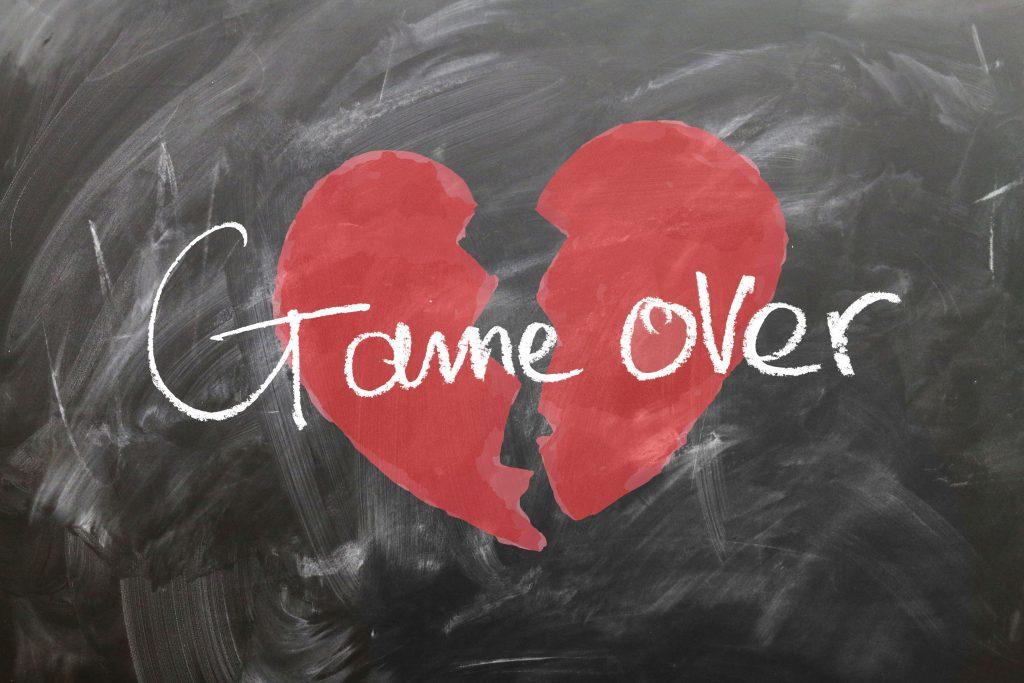 Game Over Broken Heart Red 4K Wallpaper