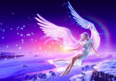 Girl Anime Blue Pink Wings 4K Wallpaper