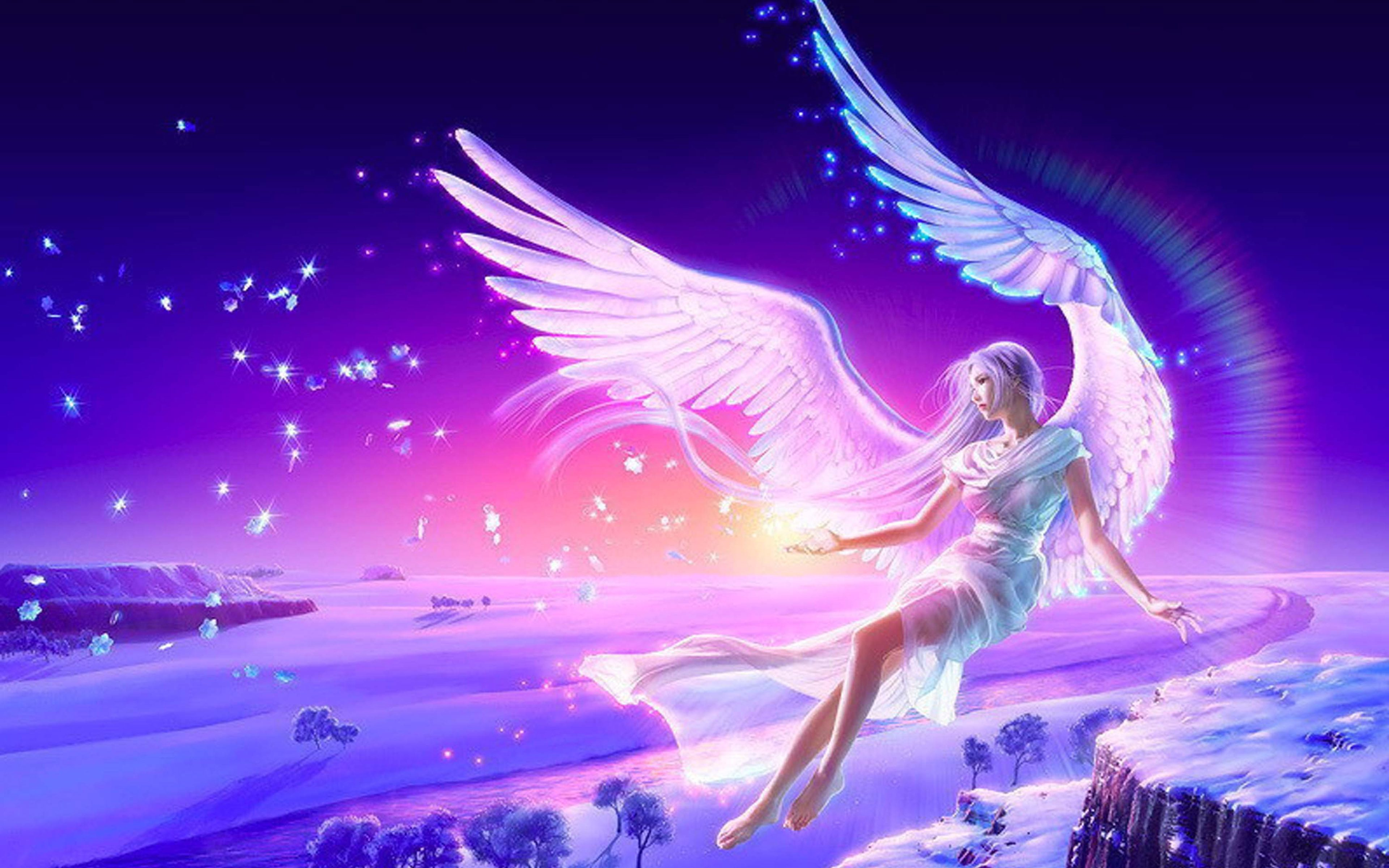 Girl Anime Blue Pink Wings 4K Wallpaper - Best Wallpapers