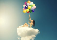 Girl Balloons Colorful Cloud 4K Wallpaper