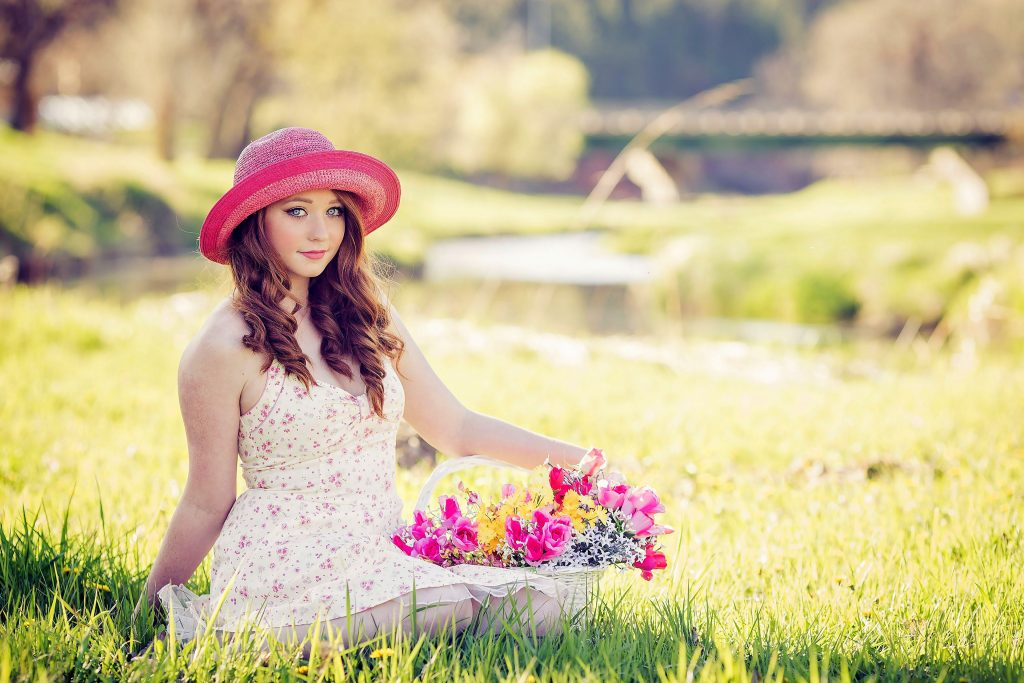 Girl Female Beautiful Pink Garden Flowers 4K Wallpaper