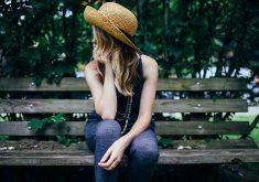 Girl Female Woman Hat Bench 4K Wallpaper