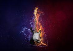 Guitar Creative Fire Water Blue Red 5k Wallpaper