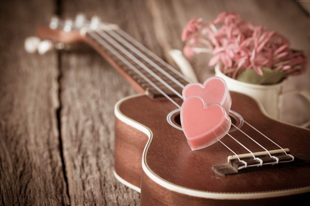 Guitar Heart Pink Wooden 4K Wallpaper