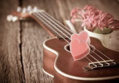 Guitar Heart Pink Wooden 4K Wallpaper
